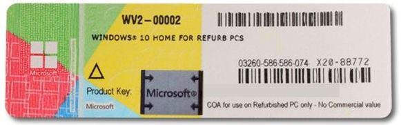 Naklejka licencyjna Windows 10